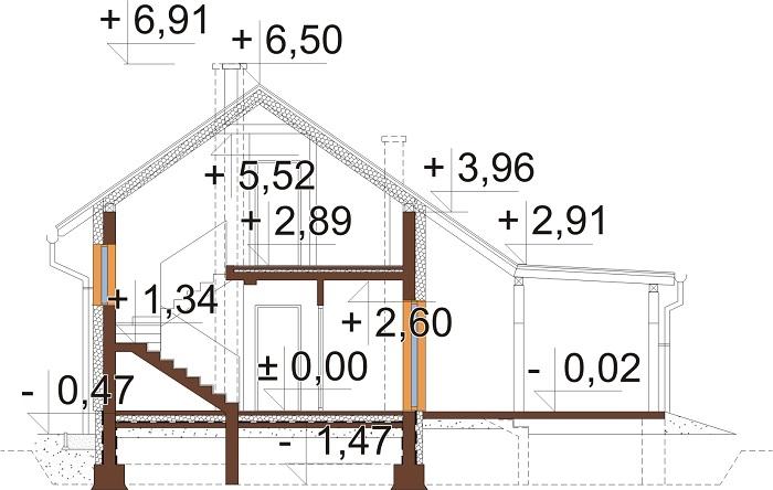 Projekt domu DM-6737 - przekrój