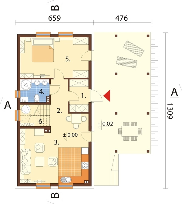 Projekt domu DM-6737 - rzut