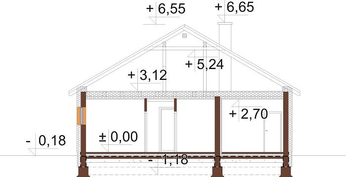 Projekt domu L-6708 - przekrój