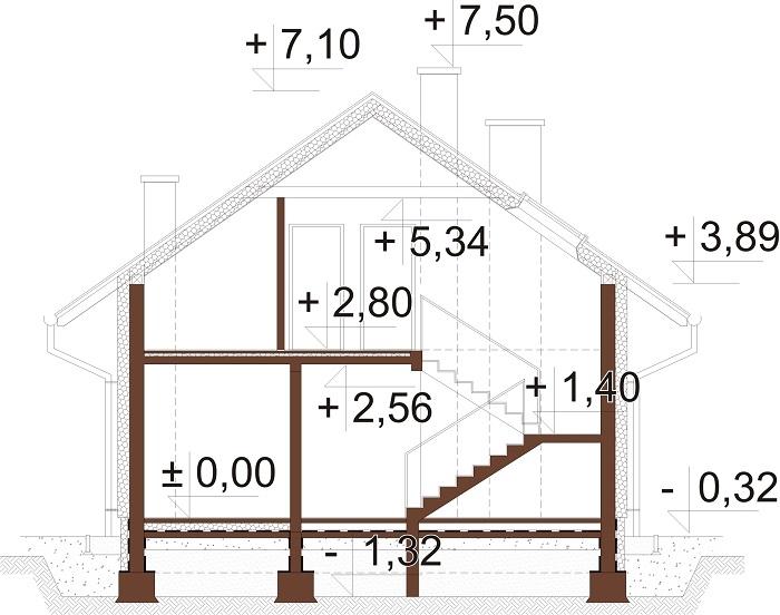 Projekt domu DM-6720 - przekrój
