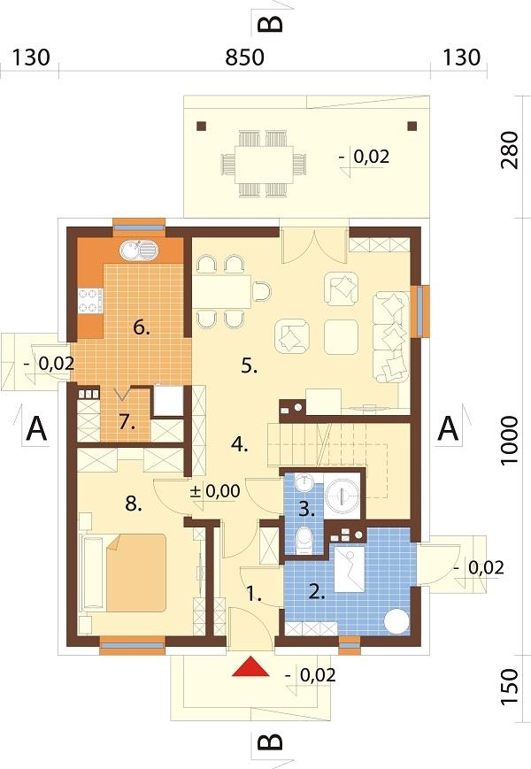 Projekt domu DM-6720 - rzut
