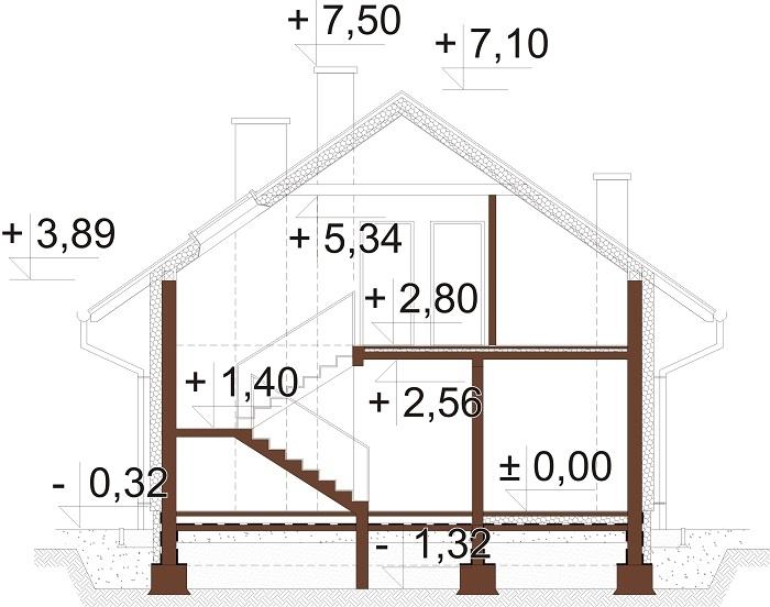 Projekt domu L-6720 - przekrój