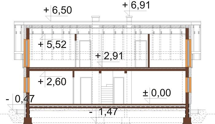 Projekt domu L-6737 - przekrój