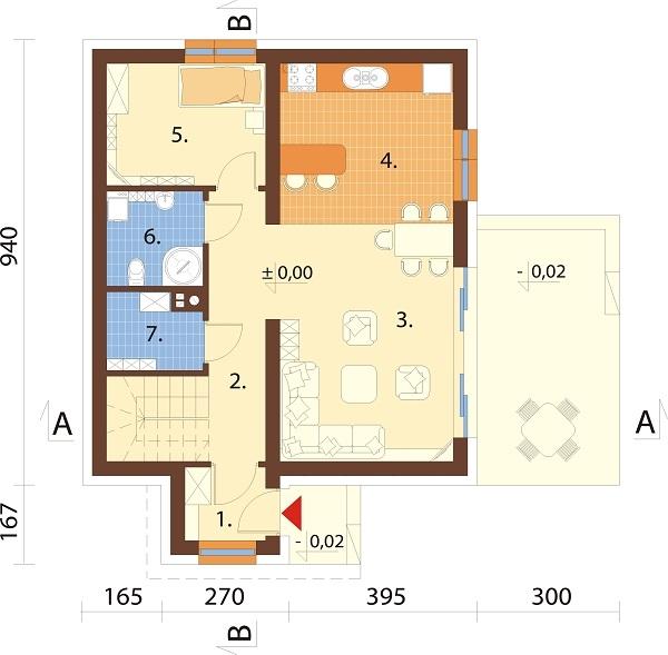 Projekt domu L-6592 N - rzut