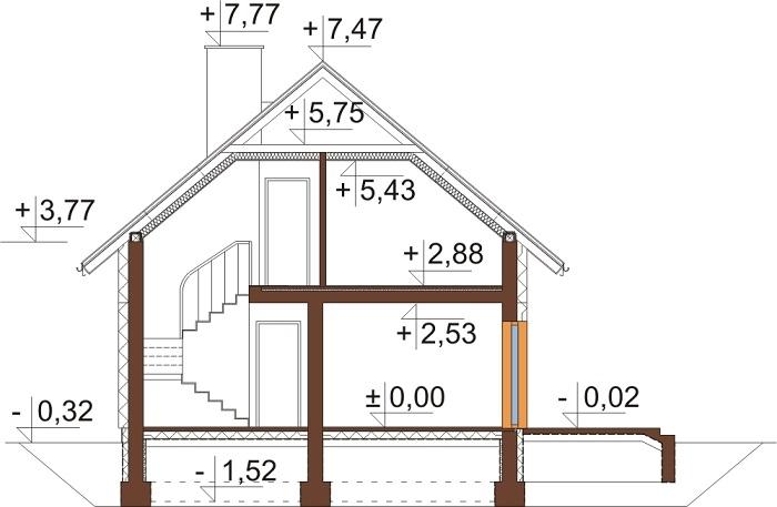 Projekt domu L-6592 N - przekrój