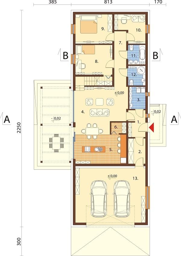 Projekt domu DM-6695 - rzut