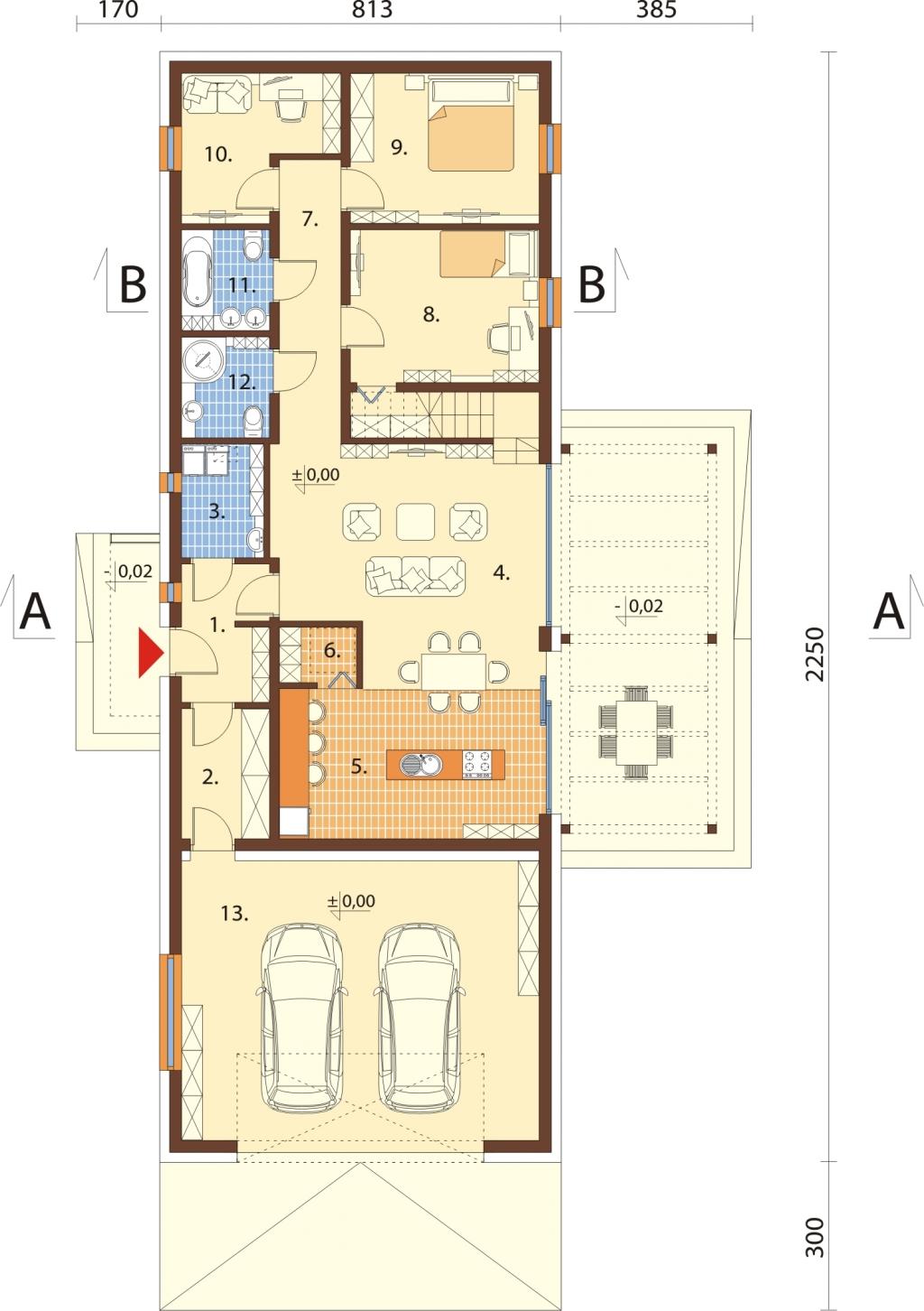 Projekt domu L-6695 - rzut