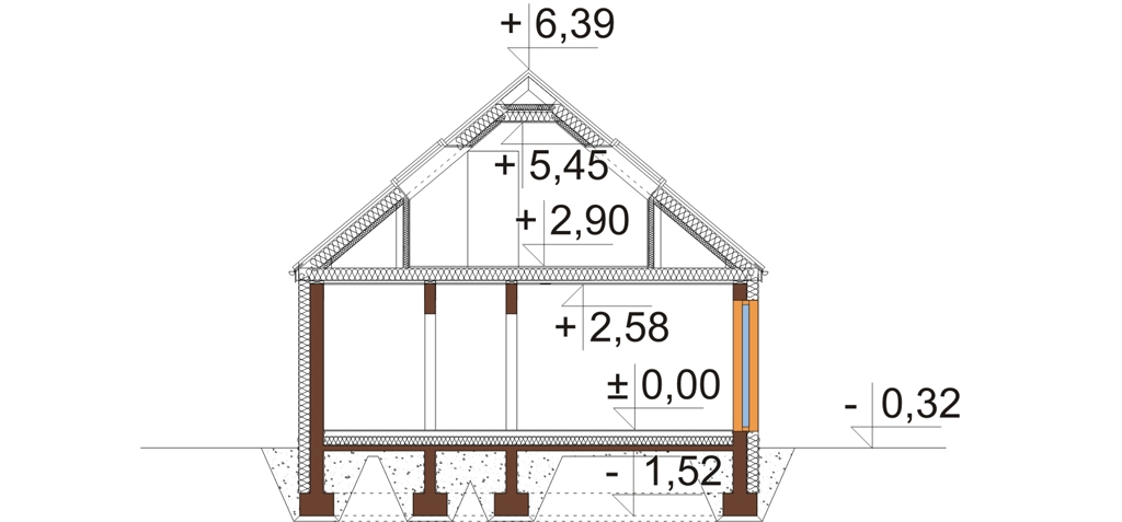 Projekt domu L-6695 - przekrój