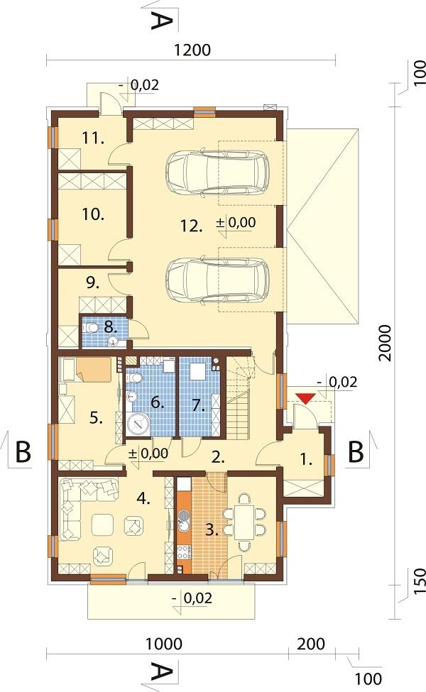 Projekt domu DM-6738 - rzut