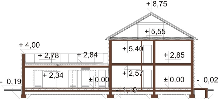 Projekt domu L-6738 - przekrój