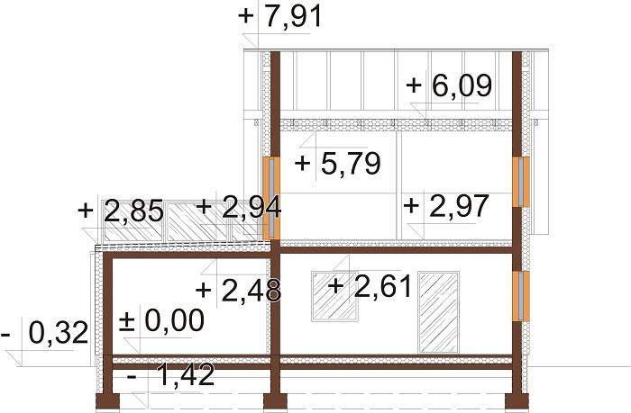 Projekt domu L-6739 - przekrój