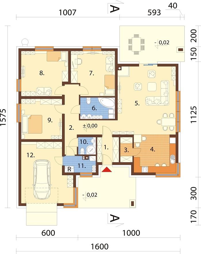 Projekt domu L-6621 B - rzut