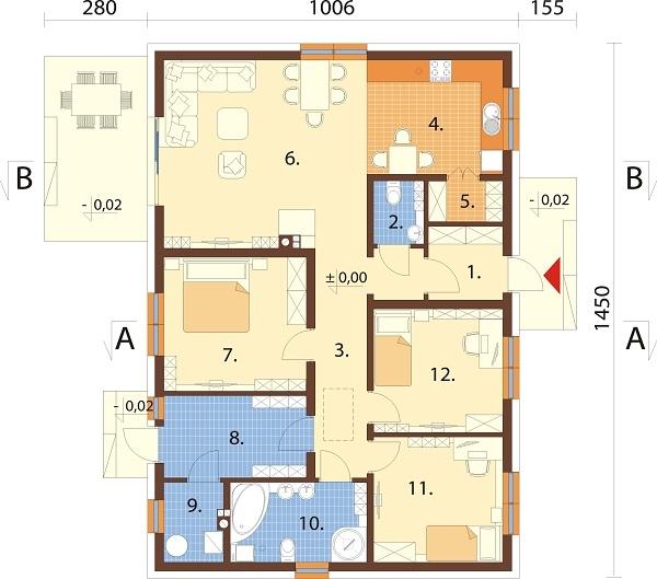 Projekt domu DM-6741 - rzut