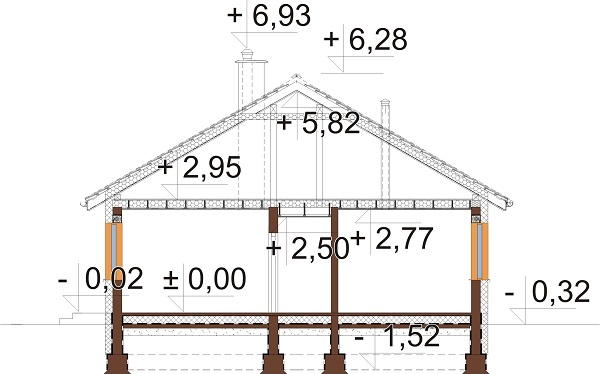 Projekt domu L-6741 - przekrój
