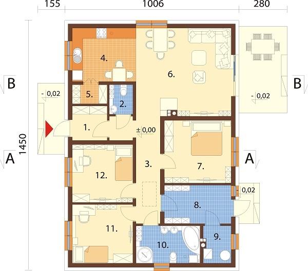 Projekt domu L-6741 - rzut