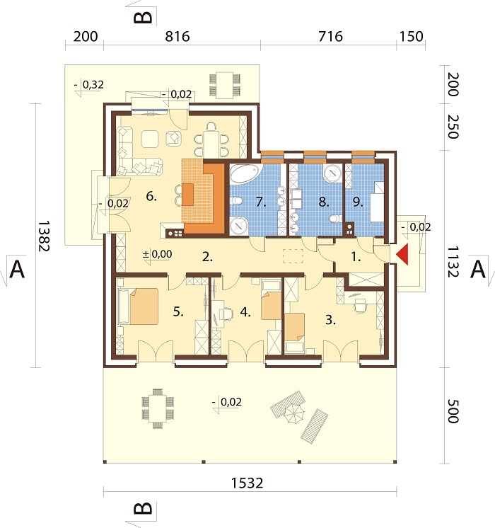 Projekt domu DM-6744 - rzut