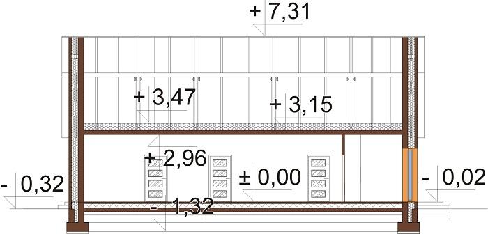 Projekt domu L-6744 - przekrój