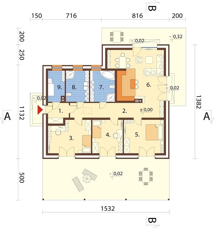 Projekt domu L-6744 - rzut
