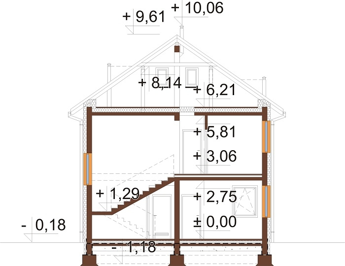 Projekt domu L-6742 - przekrój
