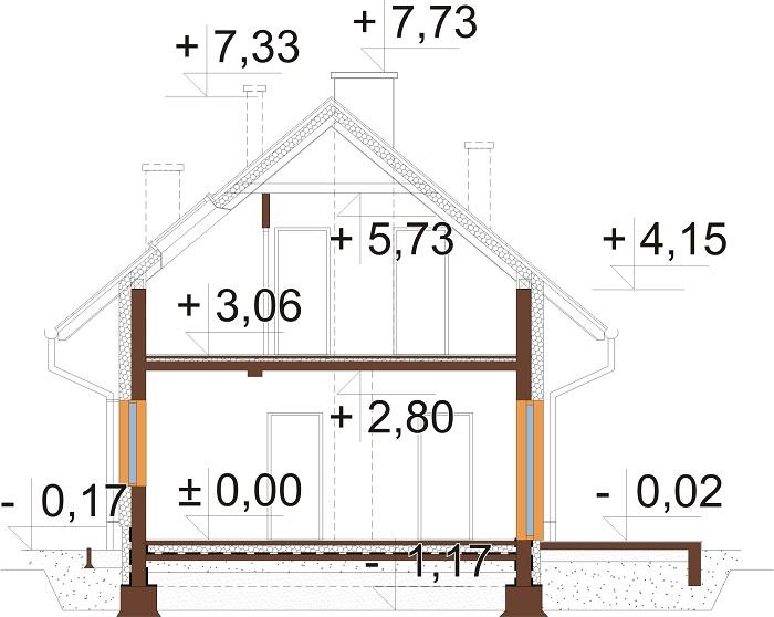 Projekt domu DM-6749 - przekrój