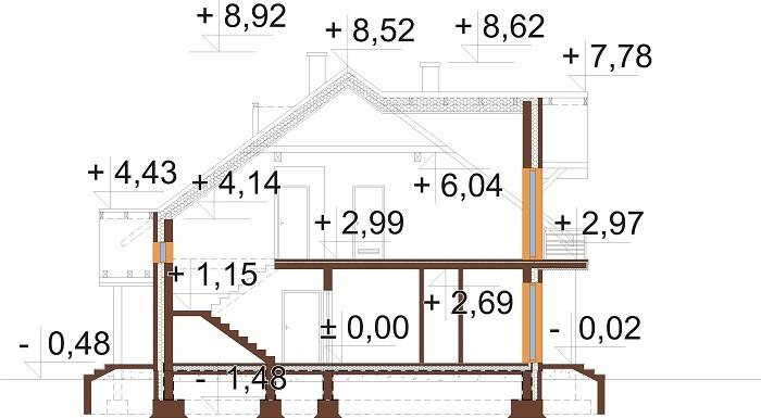 Projekt domu DM-6729 - przekrój