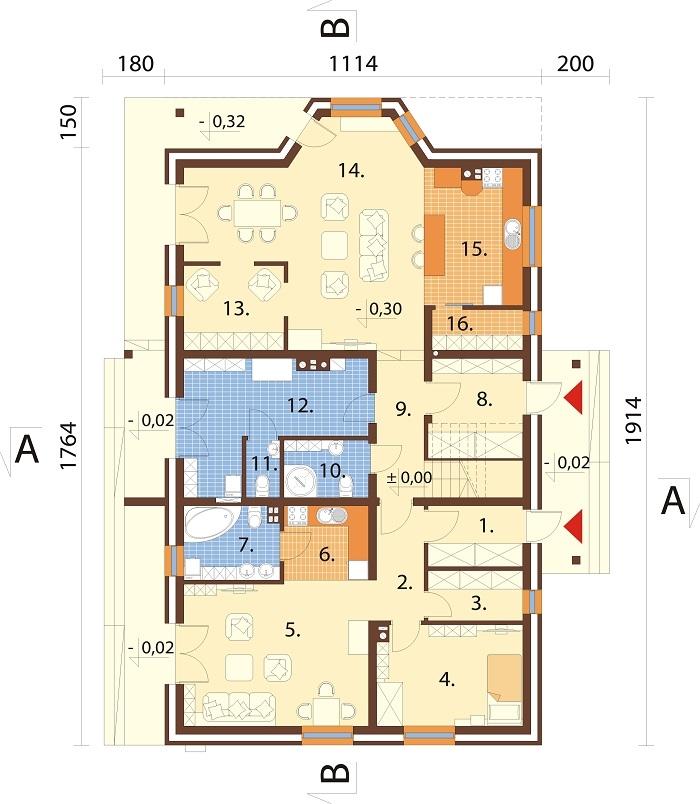 Projekt domu DM-6729 - rzut