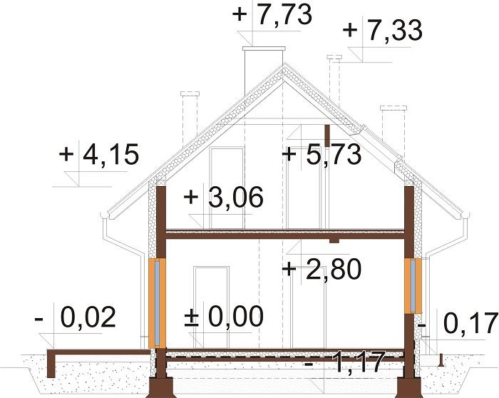 Projekt domu L-6749 - przekrój