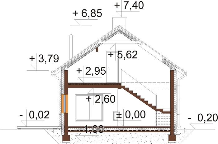 Projekt domu L-6746 - przekrój