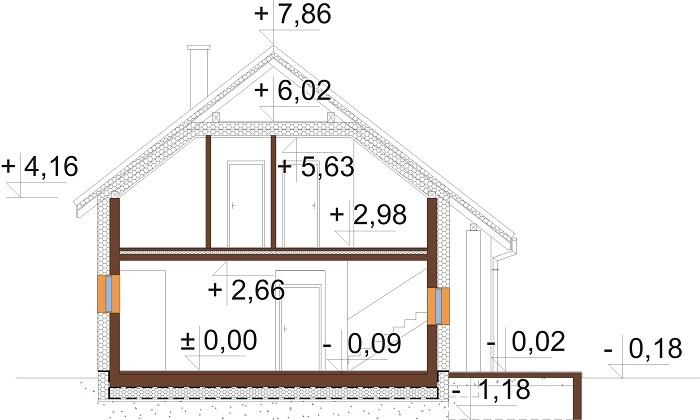 Projekt domu L-6683 - przekrój