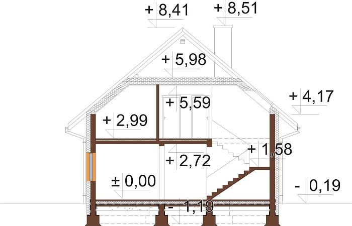 Projekt domu DM-6714 - przekrój