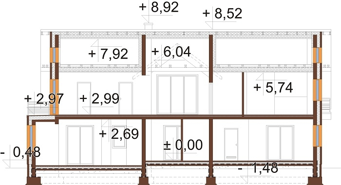 Projekt domu L-6729 - przekrój