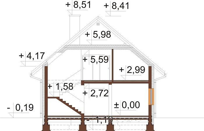 Projekt domu L-6714 - przekrój