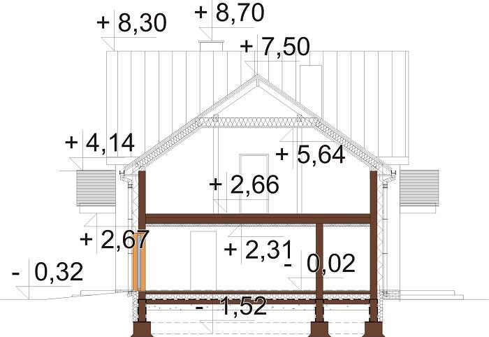 Projekt domu DM-6672 - przekrój
