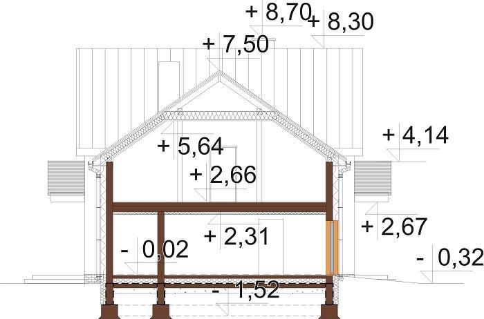 Projekt domu L-6672 - przekrój