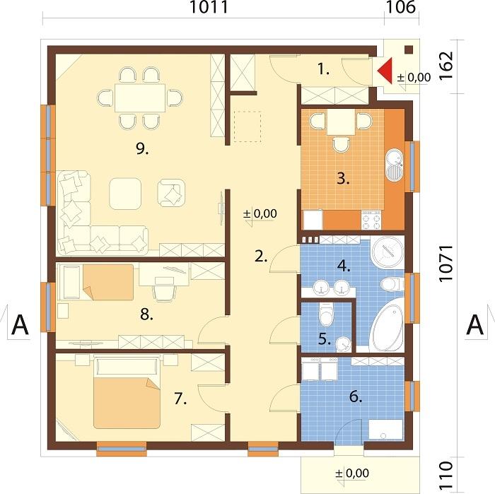 Projekt domu DM-6654 - rzut