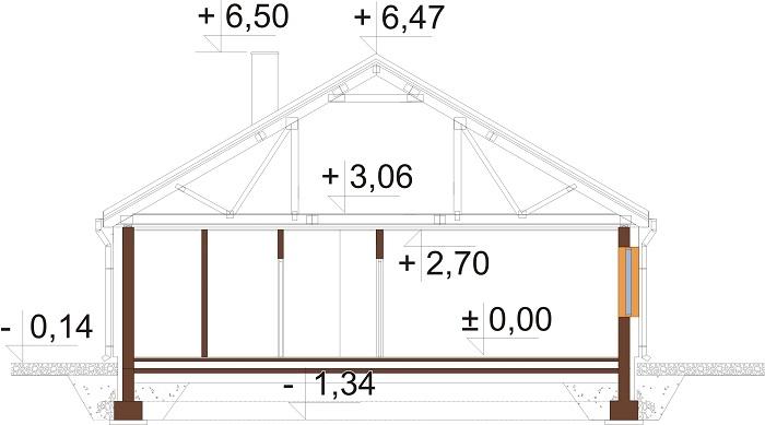 Projekt domu L-6654 - przekrój