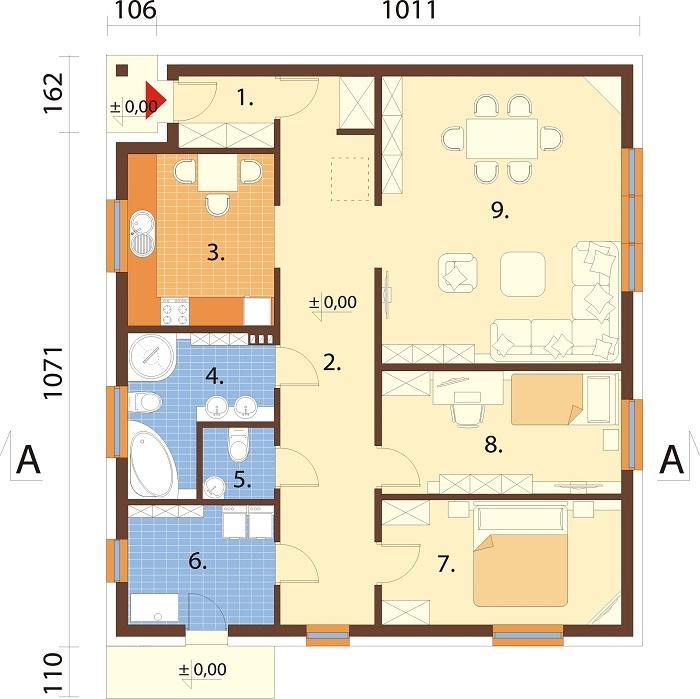 Projekt domu L-6654 - rzut