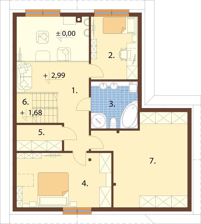 Projekt domu DM-6760 - rzut