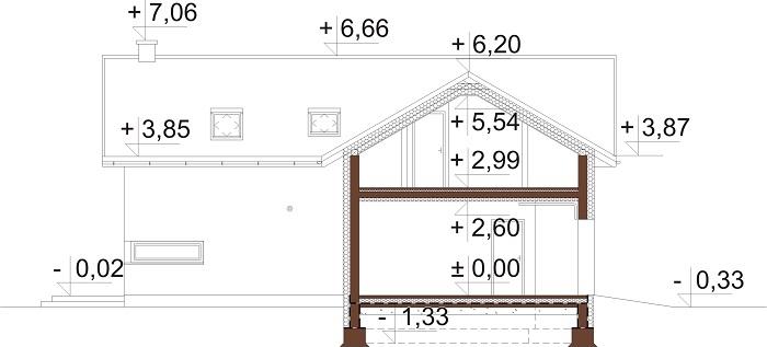 Projekt domu L-6760 - przekrój