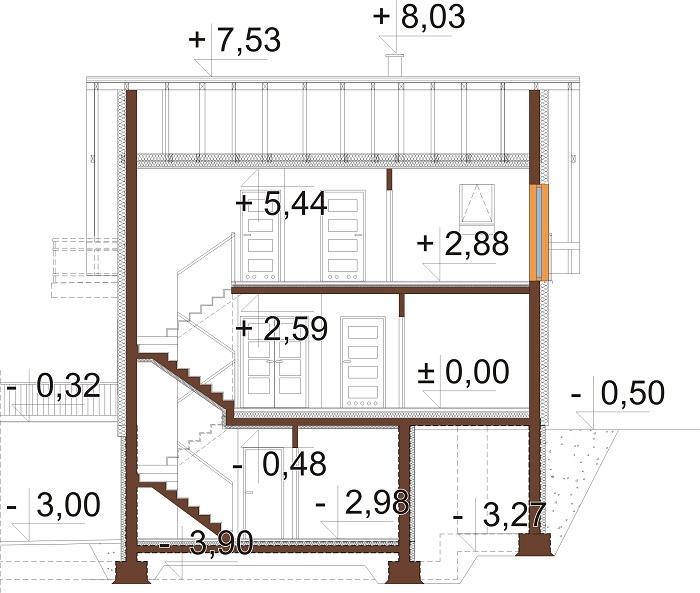 Projekt domu DM-6725 - przekrój