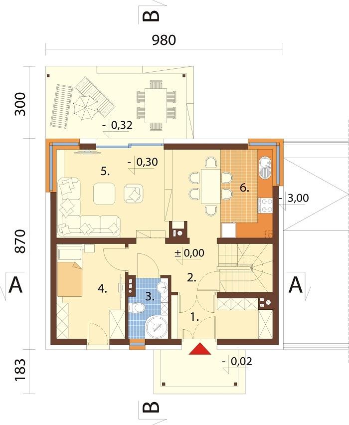 Projekt domu DM-6725 - rzut