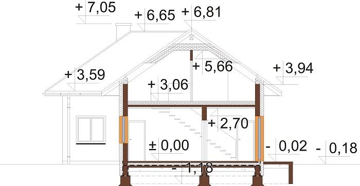 Projekt domu DM-6740 - przekrój