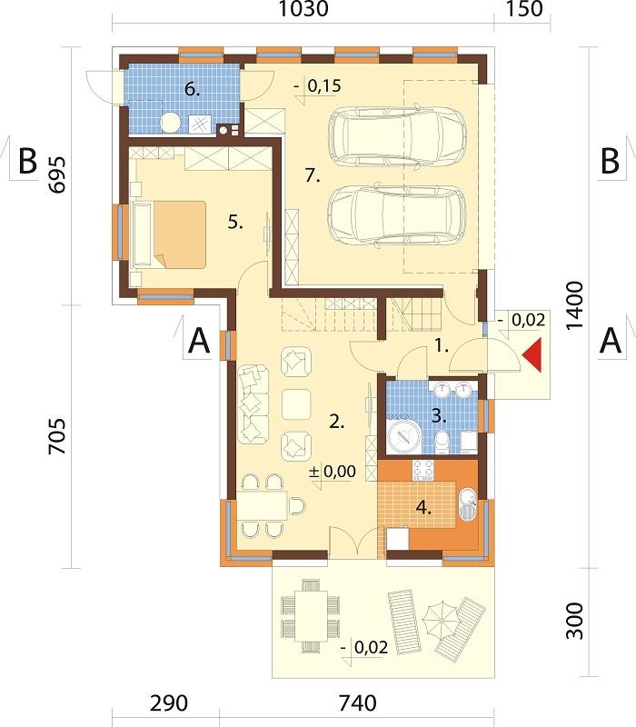Projekt domu DM-6740 - rzut