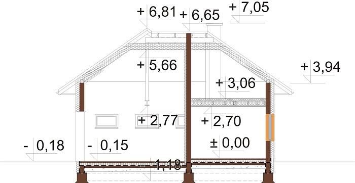 Projekt domu L-6740 - przekrój