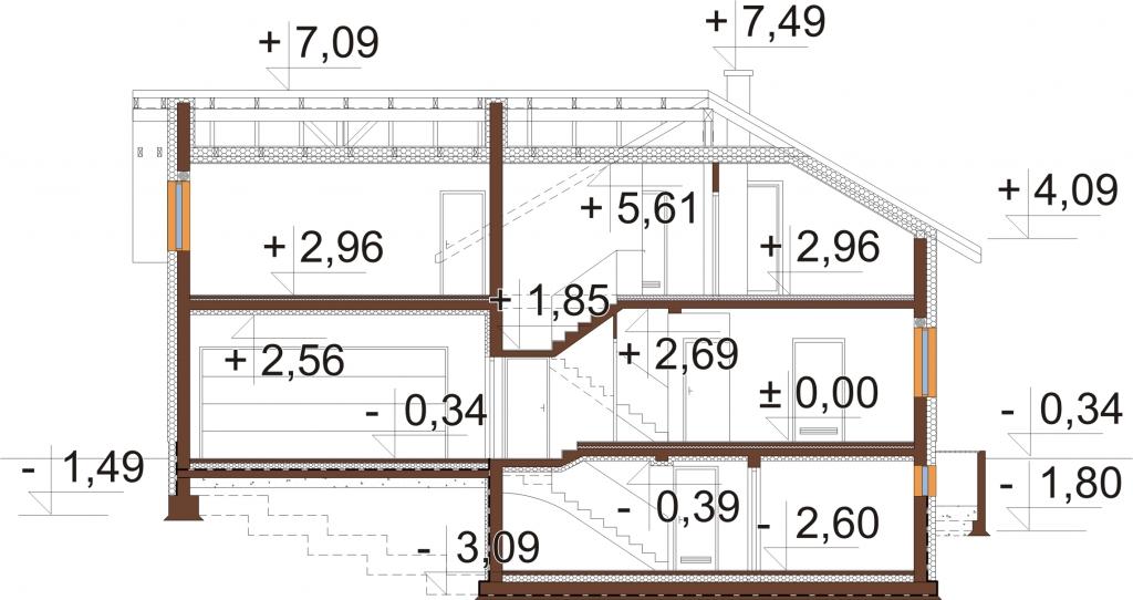 Projekt domu L-6747 - przekrój