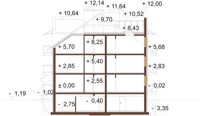 Projekt domu L-6748 - przekrój