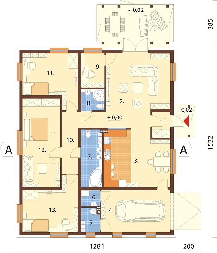 Projekt domu DM-6756 - rzut