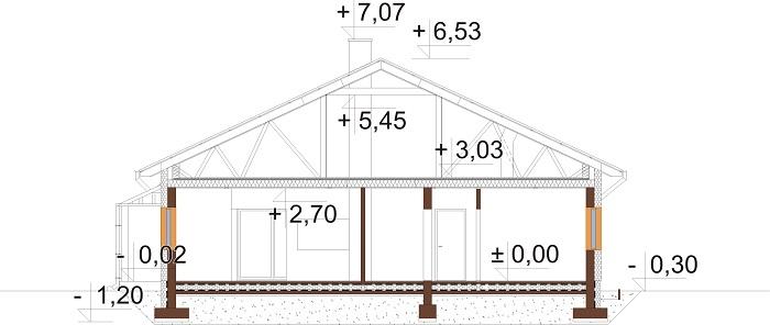 Projekt domu L-6756 - przekrój