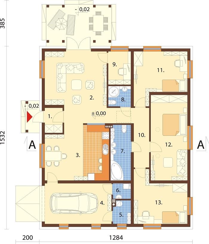 Projekt domu L-6756 - rzut