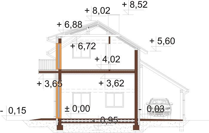 Projekt domu L-6722 - przekrój